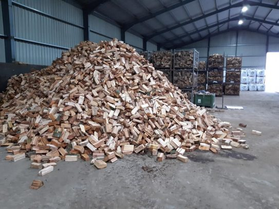 Cleaned logs ready to be put in the cages